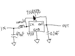 電池一本で白色LEDを点灯回路図