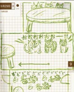 猫ら絵日記『居間の真ん中にスペースあけたら大好評』