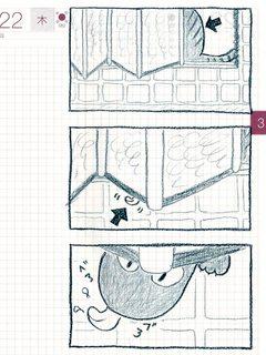 猫ら絵日記『危うく危ない風呂のドア』