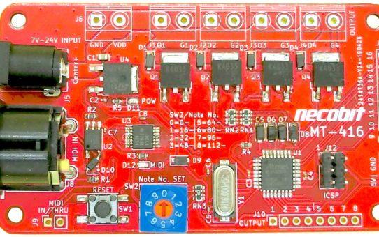 かんたんMIDIスイッチ基板 MT-416 MIDI to Transistor - 4port (16portまで拡張可能)