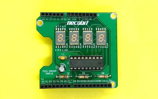 Arduino7セグシールドキット(カソードコモン、小型SMDタイプ用)