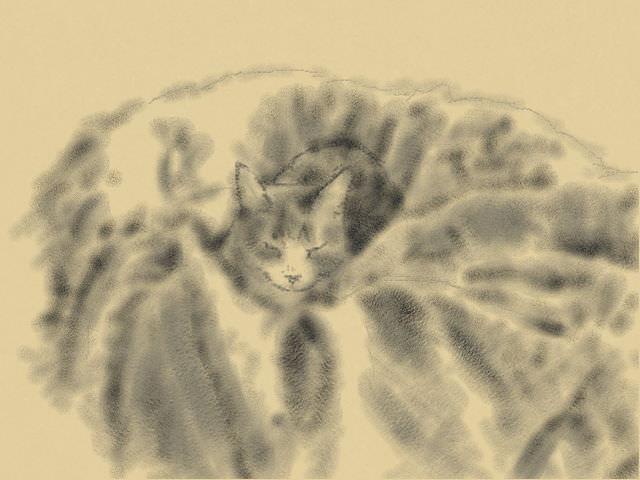 nintendo 3DS LL_cat sketch_20130515.jpg
