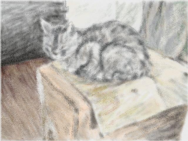 Nintendo 3DS LL_Cat Sketch_20130811