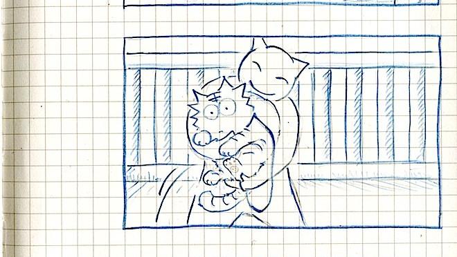 ベランダお散歩 からの 通院確保(猫ら絵日記)