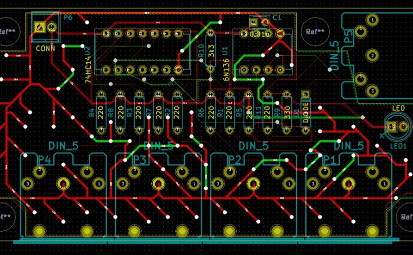 KiCadで初めて作るプリント基板 MIDI THRUBOX 設計