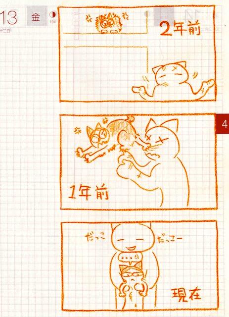 猫ら絵日記『だっこのれんしゅう変遷記』